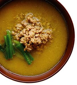 【毎日みそしる】ひき肉とほうれん草のカレー風味みそ汁とスタミナ回復レシピ2品